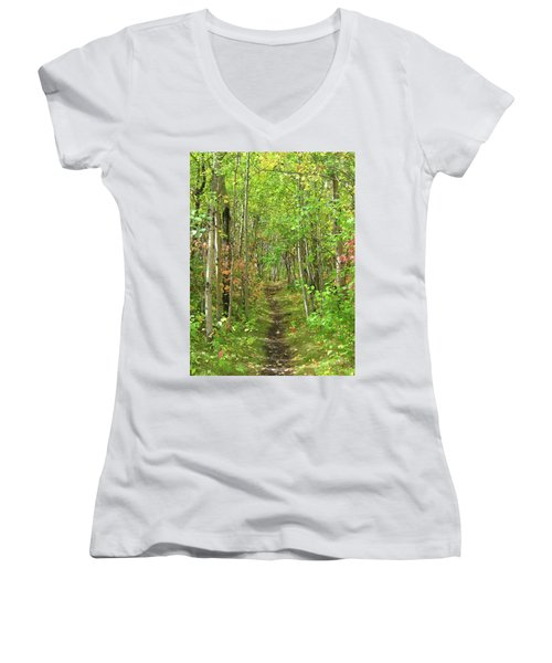 Path In The Woods Women's V-Neck