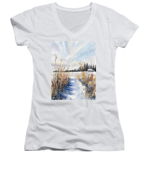 Path Shadows In The Way Back Women's V-Neck (Athletic Fit)