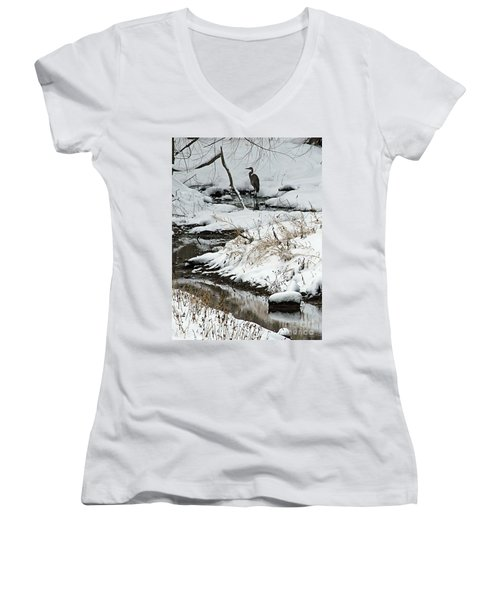 Women's V-Neck T-Shirt (Junior Cut) featuring the photograph Patiently Waiting 1 by Paula Guttilla