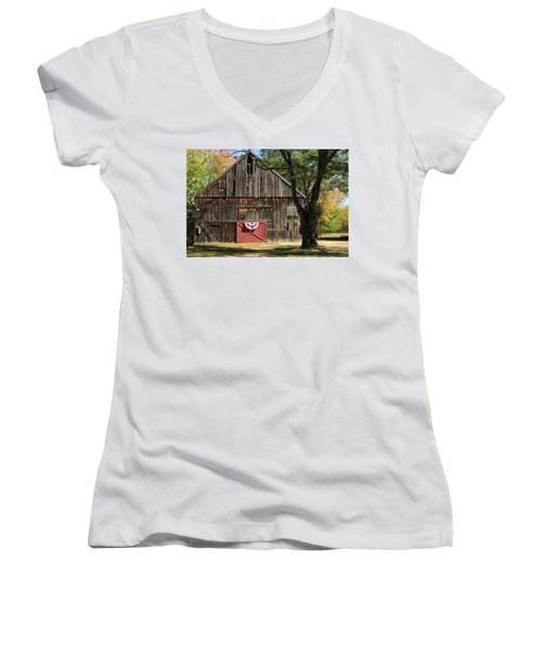 Women's V-Neck T-Shirt (Junior Cut) featuring the photograph Patriotic Barn by Nancy De Flon