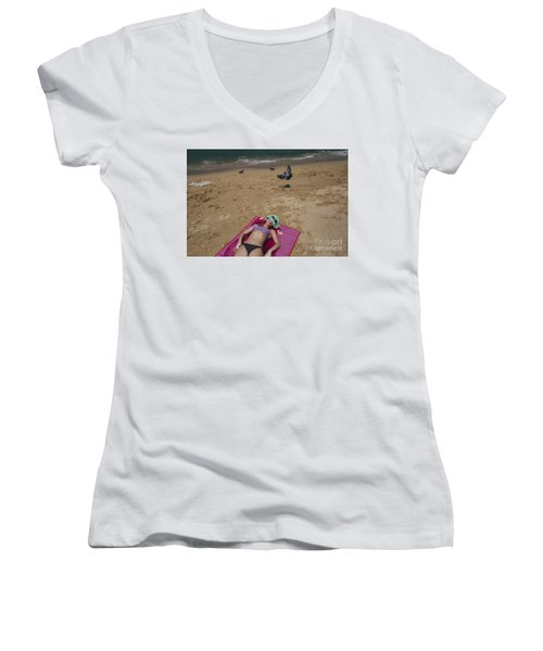 Women's V-Neck T-Shirt (Junior Cut) featuring the photograph Pattaya Beach by Setsiri Silapasuwanchai