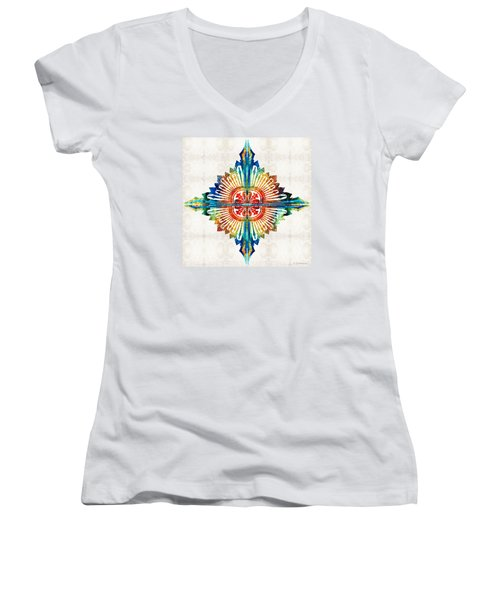 Women's V-Neck T-Shirt (Junior Cut) featuring the painting Pattern Art - Color Fusion Design 1 By Sharon Cummings by Sharon Cummings