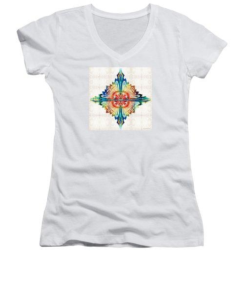 Pattern Art - Color Fusion Design 1 By Sharon Cummings Women's V-Neck T-Shirt (Junior Cut) by Sharon Cummings