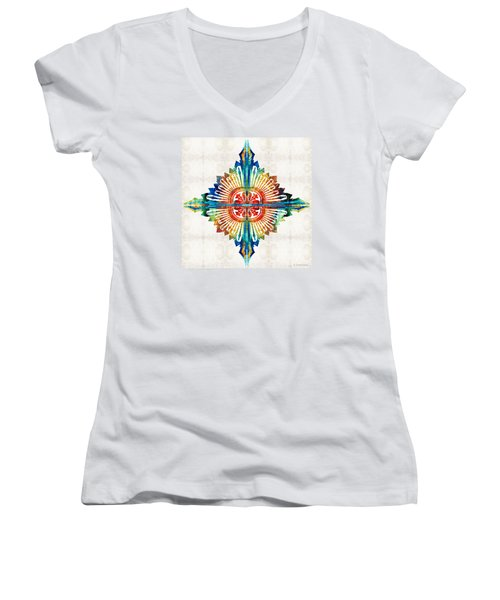 Pattern Art - Color Fusion Design 1 By Sharon Cummings Women's V-Neck