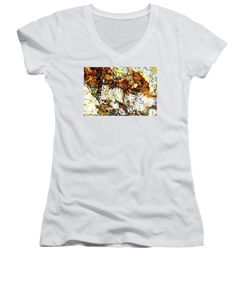Women's V-Neck T-Shirt (Junior Cut) featuring the photograph Patterns In Stone - 210 by Paul W Faust - Impressions of Light