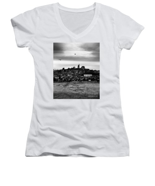 Patzcuaro Women's V-Neck T-Shirt (Junior Cut) by Ana Mireles