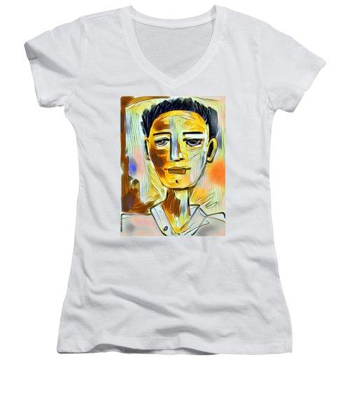 Pauls Portrait Women's V-Neck T-Shirt (Junior Cut) by Elaine Lanoue