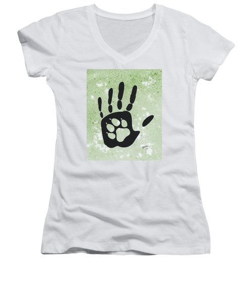 Paw And Hand Women's V-Neck T-Shirt