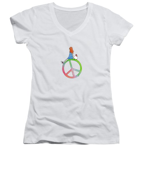 Peace And Hope Women's V-Neck (Athletic Fit)