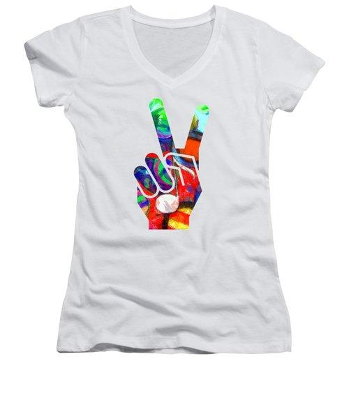 Peace Hippy Paint Hand Sign Women's V-Neck T-Shirt (Junior Cut) by Edward Fielding