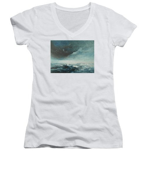 Peace In The Midst Of The Storm Women's V-Neck T-Shirt (Junior Cut) by Jane See