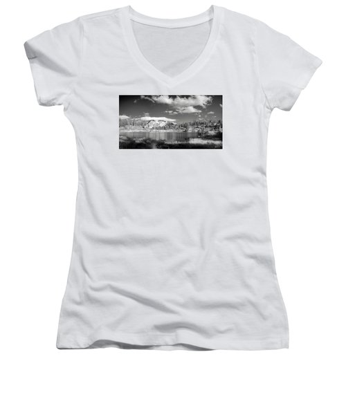 Women's V-Neck T-Shirt (Junior Cut) featuring the photograph Peaceful Lake by Jon Glaser