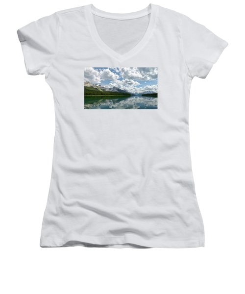 Women's V-Neck T-Shirt (Junior Cut) featuring the photograph Peaceful Maligne Lake by Sebastien Coursol