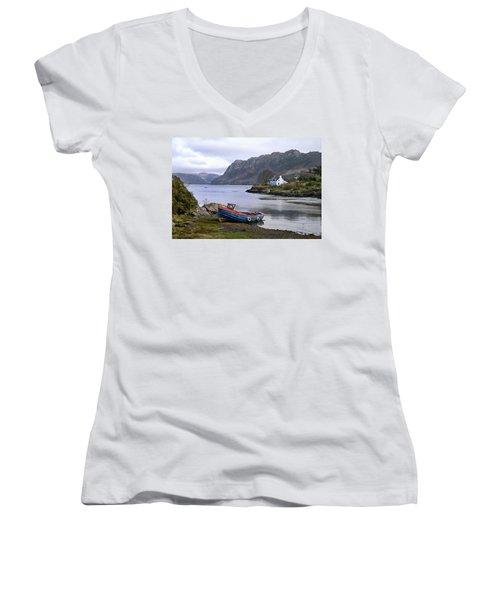 Peaceful Plockton Women's V-Neck T-Shirt (Junior Cut) by Jacqi Elmslie
