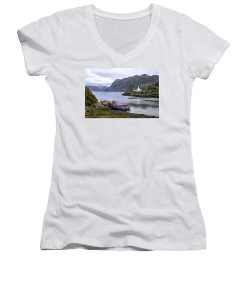 Peaceful Plockton Women's V-Neck T-Shirt