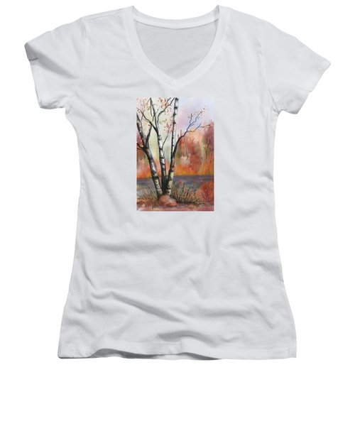 Women's V-Neck T-Shirt (Junior Cut) featuring the painting Peaceful River by Annette Berglund