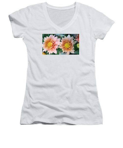 Peachy Chrysanthemums Women's V-Neck (Athletic Fit)