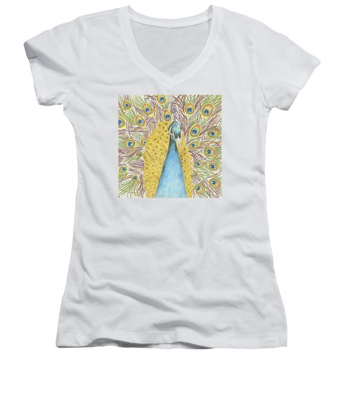 Women's V-Neck T-Shirt (Junior Cut) featuring the drawing Peacock Two by Arlene Crafton