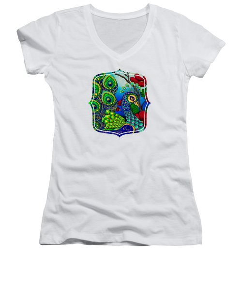 Peacock Zentangle Inspired Art Women's V-Neck
