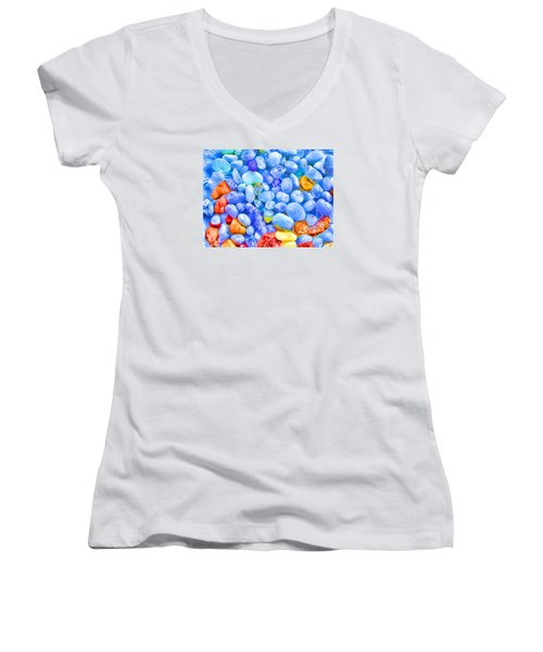 Pebble Delight Women's V-Neck T-Shirt (Junior Cut) by Andreas Thust
