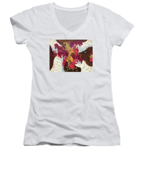 Women's V-Neck T-Shirt (Junior Cut) featuring the painting Pecking Order by Jame Hayes