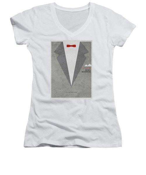 Women's V-Neck T-Shirt (Junior Cut) featuring the digital art Pee-wee's Big Adventure by Ayse Deniz