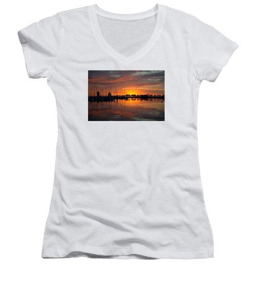 Peeking Sun Women's V-Neck T-Shirt