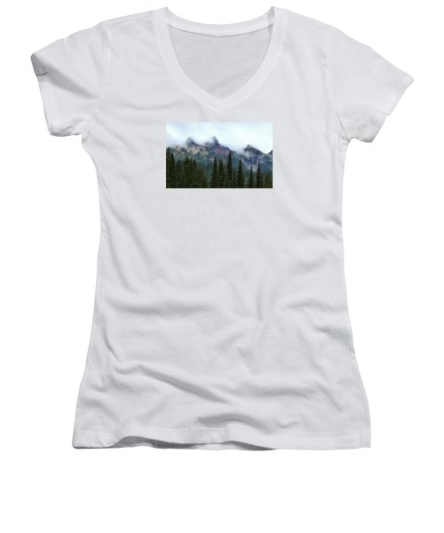 Women's V-Neck T-Shirt (Junior Cut) featuring the photograph Peeking Through by Lynn Hopwood