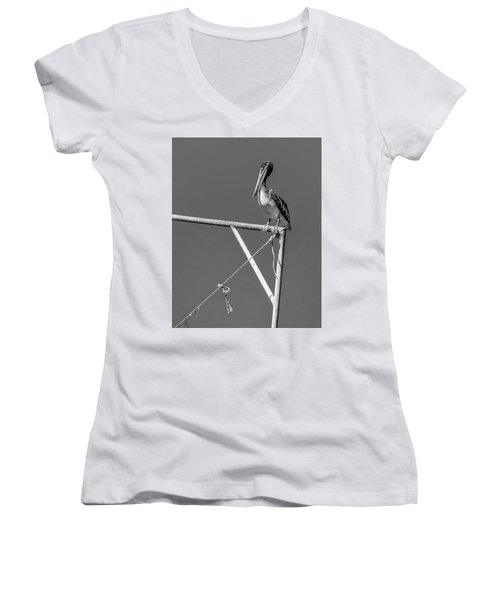 Pelican In Black And White Women's V-Neck T-Shirt (Junior Cut) by Andy Crawford