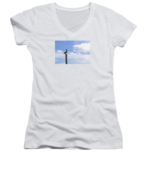 Pelican In The Clouds Women's V-Neck T-Shirt (Junior Cut) by Christopher L Thomley