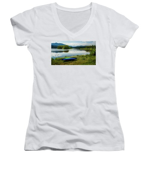 Pelicans At Shadow Mountain Lake Women's V-Neck
