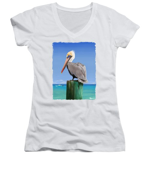 Pelicans Post Women's V-Neck T-Shirt (Junior Cut) by Kevin Putman
