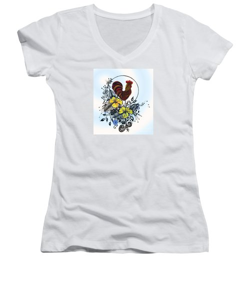 Pen And Ink Drawing Rooster Art Watercolor And Digital Art Women's V-Neck T-Shirt (Junior Cut) by Saribelle Rodriguez