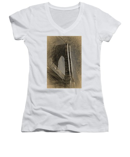 Pencil Sketch Of The Brooklyn Bridge Women's V-Neck (Athletic Fit)
