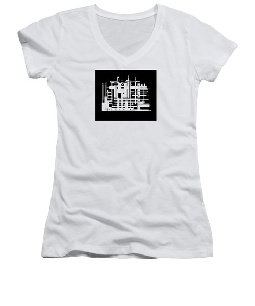 Women's V-Neck T-Shirt (Junior Cut) featuring the painting Penman Original-325- The Visitor by Andrew Penman
