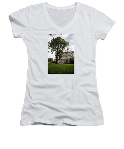 Penn State Old Main From Side  Women's V-Neck T-Shirt (Junior Cut) by John McGraw