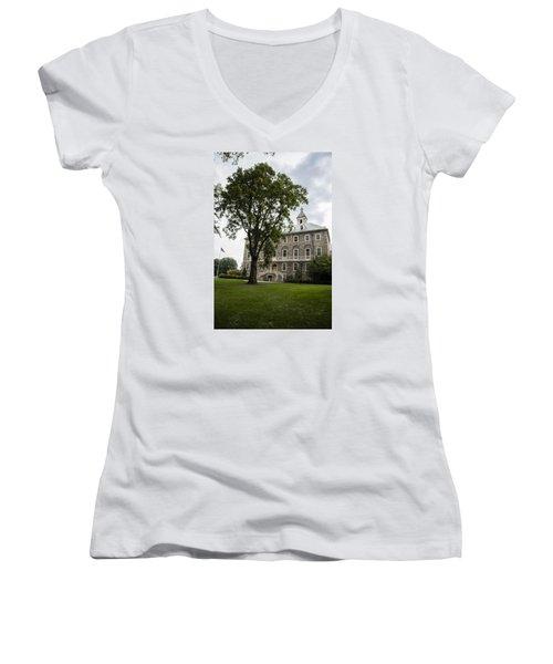 Penn State Old Main From Side  Women's V-Neck T-Shirt