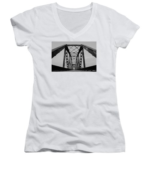 Pennsylvania Steel Co. Railroad Bridge Women's V-Neck (Athletic Fit)