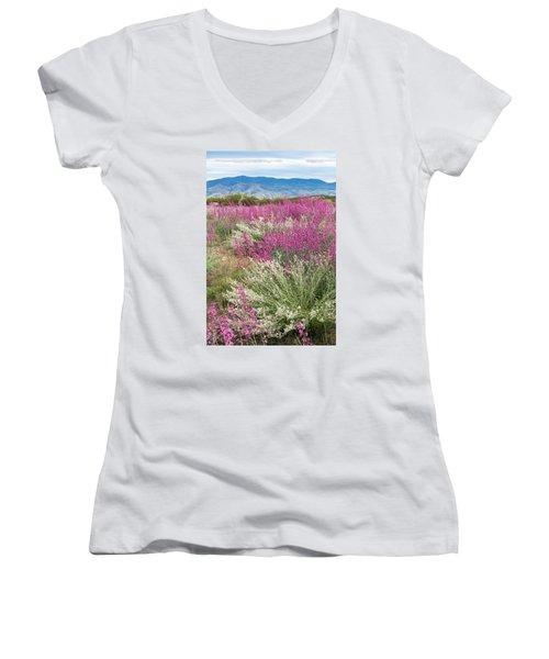 Penstemon At Black Hills Women's V-Neck T-Shirt (Junior Cut) by Karen Stephenson