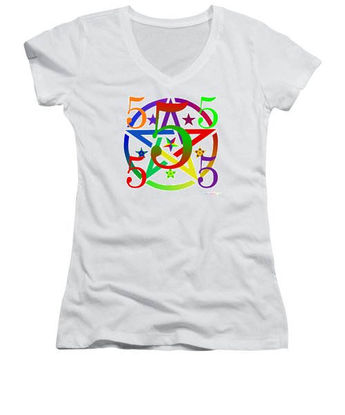 Penta Pentacle White Women's V-Neck T-Shirt (Junior Cut) by Eric Edelman