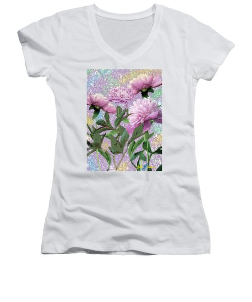 Peonies 6 Women's V-Neck (Athletic Fit)