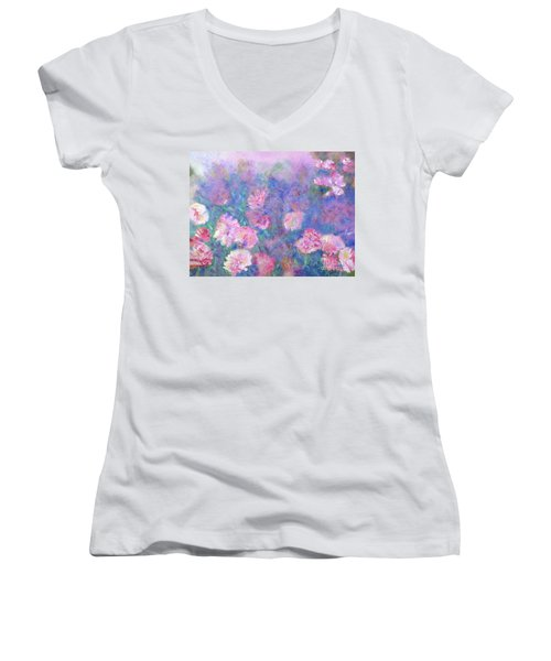 Peonies Women's V-Neck (Athletic Fit)