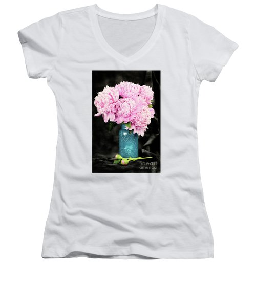 Peonies In A Blue Mason Jar Women's V-Neck