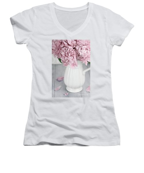 Peonies In A Vase Women's V-Neck