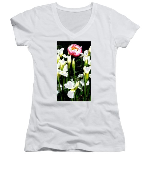 Peony And Iris Women's V-Neck (Athletic Fit)