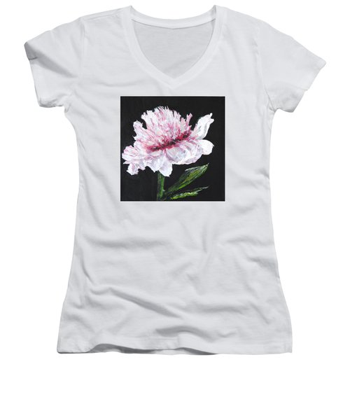 Peony Bloom Women's V-Neck (Athletic Fit)
