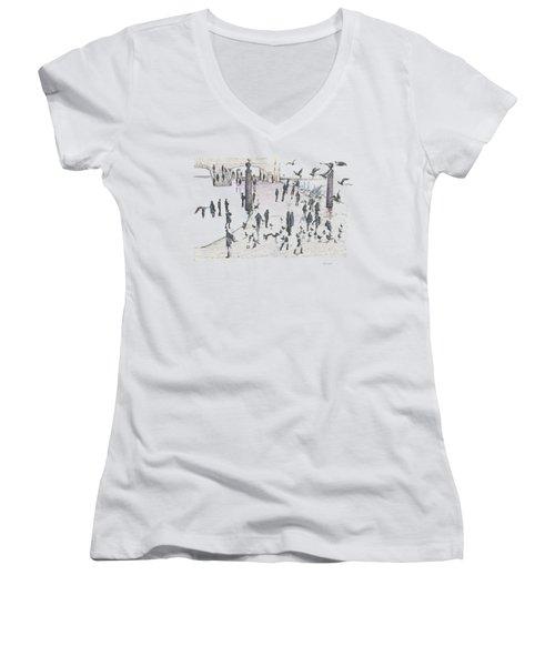 People And Birds, 19 December, 2015 Women's V-Neck T-Shirt (Junior Cut) by Tatiana Chernyavskaya