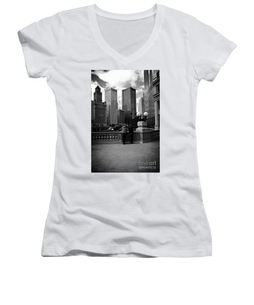 People And Skyscrapers Women's V-Neck
