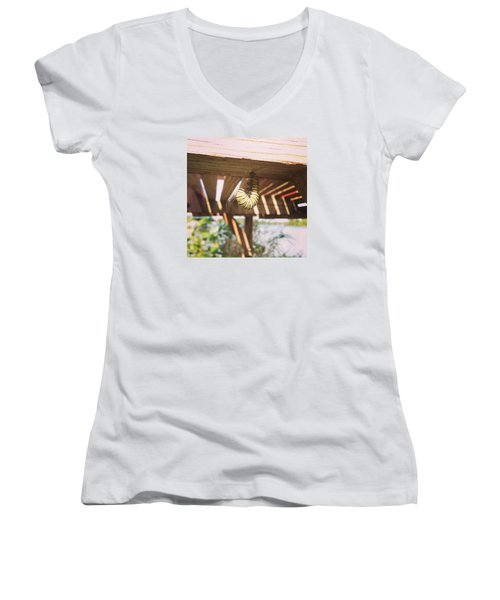 Women's V-Neck T-Shirt (Junior Cut) featuring the photograph Peparing For Transformation by Rebecca Wood