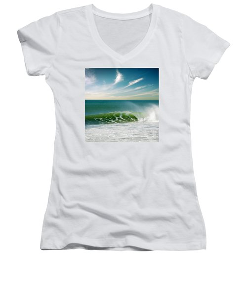 Perfect Wave Women's V-Neck T-Shirt (Junior Cut) by Carlos Caetano